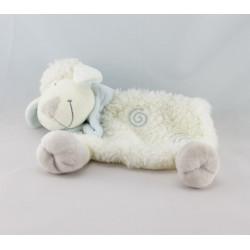 Doudou semi plat mouton blanc bleu spirale KIABI NICOTOY