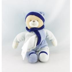 Doudou ours bleu avec mouchoir BABY NAT