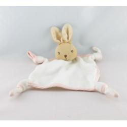 Doudou plat lapin blanc rose KALOO