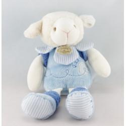Doudou et compagnie marionnette mouton Gaston bleu avec fleur