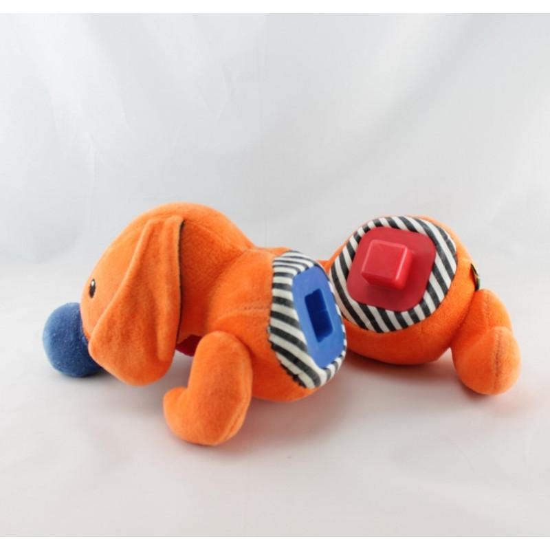 Doudou musical chien orange jaune marron bleu miroir LARDY