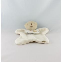 Doudou plat ours jaune bavoir DMC
