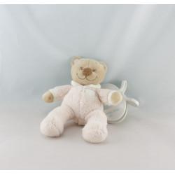 Doudou ours rose nuage vibrant avec attache NATTOU
