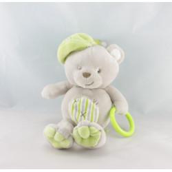 Doudou attache tétine ours gris vert BABY NAT