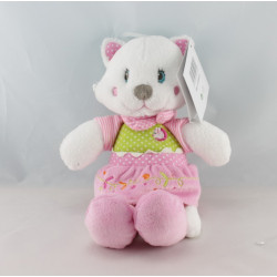 Doudou plat chat blanc rose vert pois fleurs NICOTOY
