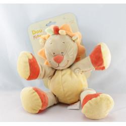 Doudou lion beige orange rouge DOUKIDOU