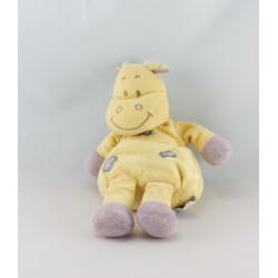 Doudou vache girafe jaune coeur violet INFLUX 22 cm