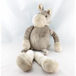 Doudou ours beige foulard rayé rose PLAYKIDS