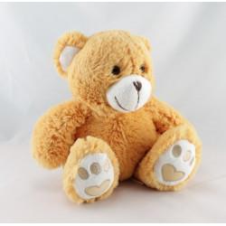 Doudou peluche ours beige bleu TEMPS POUR L'UNICEF
