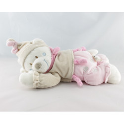 Doudou semi plat ours rose beige NICOTOY