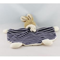 Doudou plat ours blanc foulard bleu marine BABYSUN
