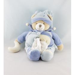 Doudou et compagnie ours Léo bleu mouchoir lune