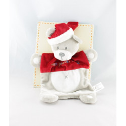 Doudou plat ours gris rouge Mon premier Noël VETIR