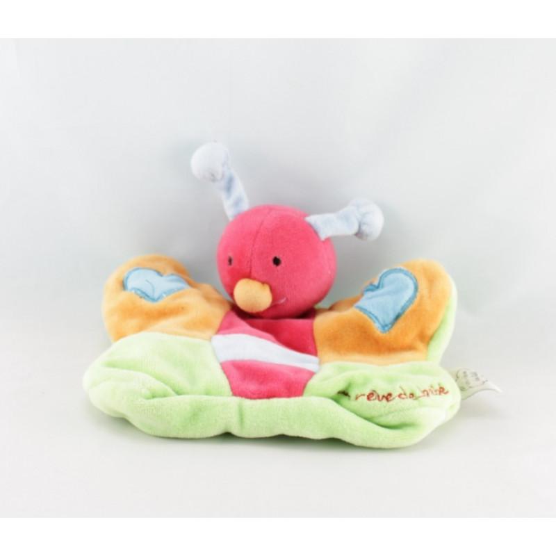 Doudou plat marionnette papillon multicolore coeurs UN REVE DE BEBE