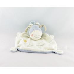 Doudou plat marionnette bébé poney écru bleu étoile