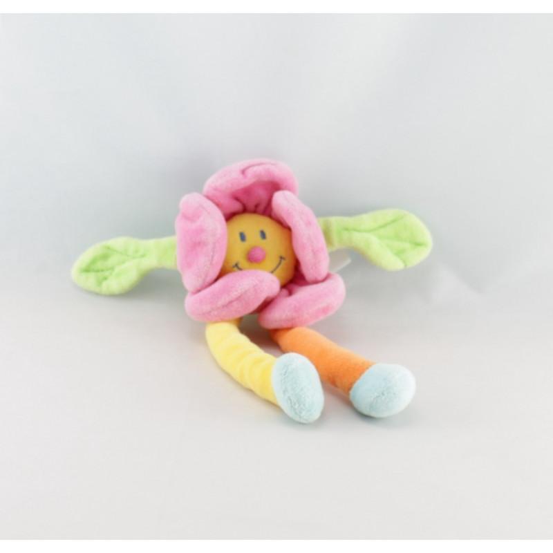 Doudou hochet fleur rose avec jambes JOLLYBABY