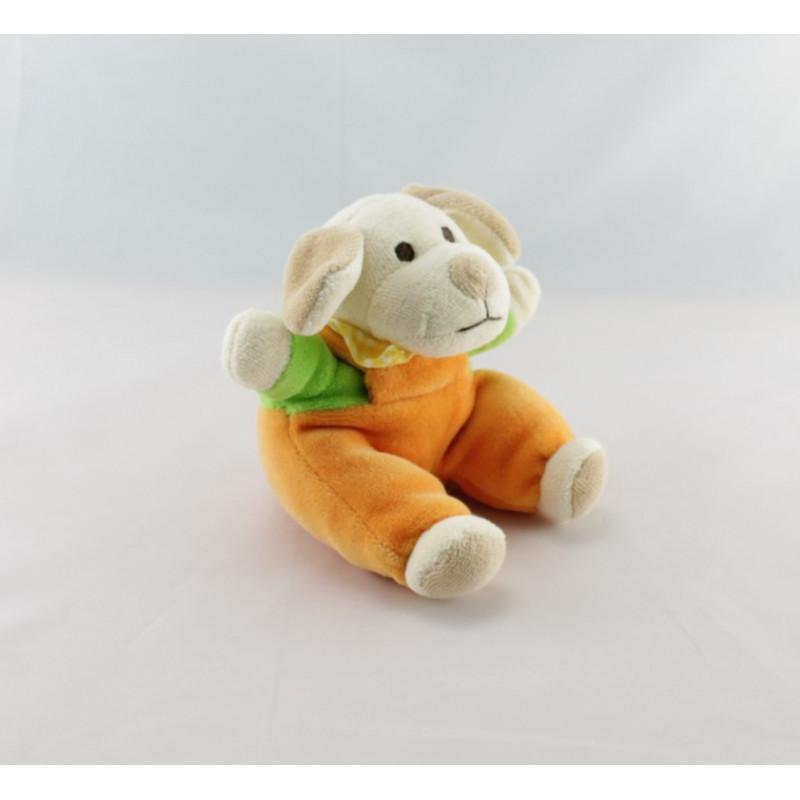 Doudou chien orange vert foulard jaune MAXITA