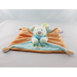 Doudou plat carré lapin bleu vert coeur POMMETTE