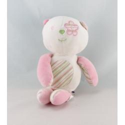 Doudou Chat rose rayé vert fleur SUCRE D'ORGE