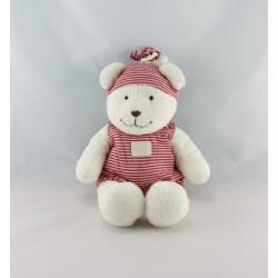 Doudou ours blanc combinaison rayé rouge KIABI