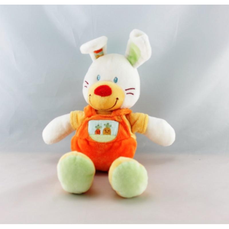 Doudou coussin lapin jaune orange carottes NICOTOY