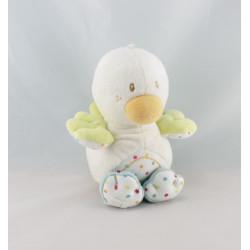 Doudou canard blanc vert bleu pois SUCRE D'ORGE