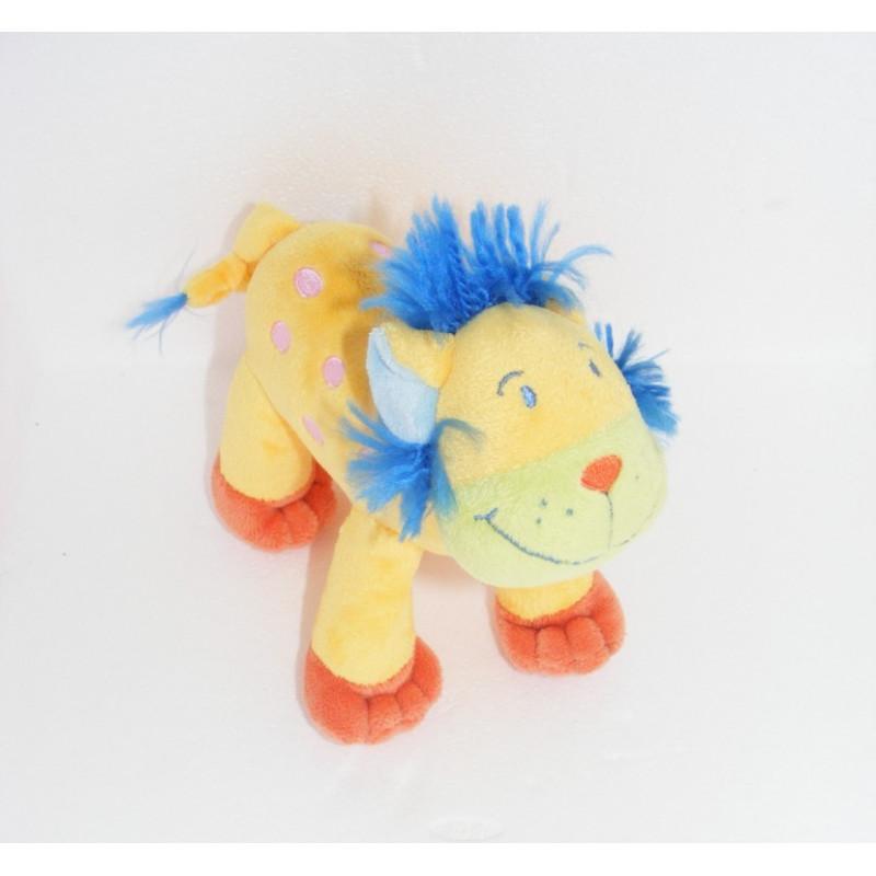 Doudou Lion Orange Jaune Crinière bleue Tactile Nicotoy