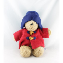 Peluche ours Paddington Bear manteau bleu chapeau rouge