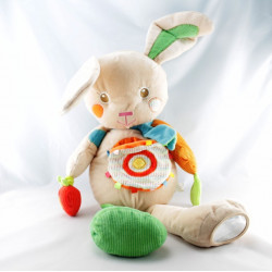 Doudou lapin beige vert orange jaune coeur BABY AUCHAN NEUF