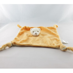 Doudou plat ours orange blanc AUCHAN