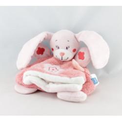 Doudou plat lapin rose fleurs oiseau brodé TEX BABY