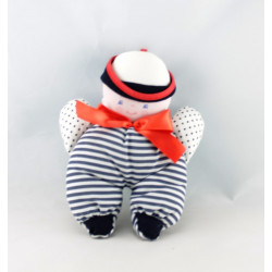 Doudou Hochet marin rayé bleu noeud rouge COROLLE