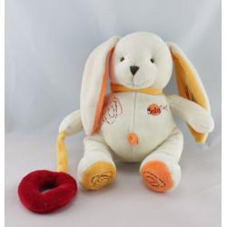 Doudou lapin blanc jaune coccinelle BABY NAT