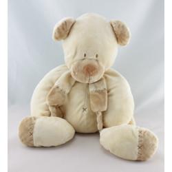 Doudou ours écru beige avec écharpe NICOTOY 25 cm