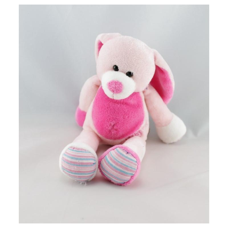 Doudou lapin rose foulard rayé BABY NAT