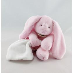 Doudou et compagnie lapin blanc rose avec mouchoir