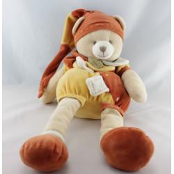 Doudou et compagnie ours orange cannelle mouchoir pantin