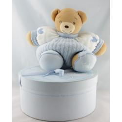 Doudou patapouf ours bleu blue laine enfant KALOO 25 cm