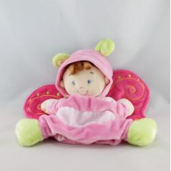 Doudou fillette déguisé en papillon rose NICOTOY