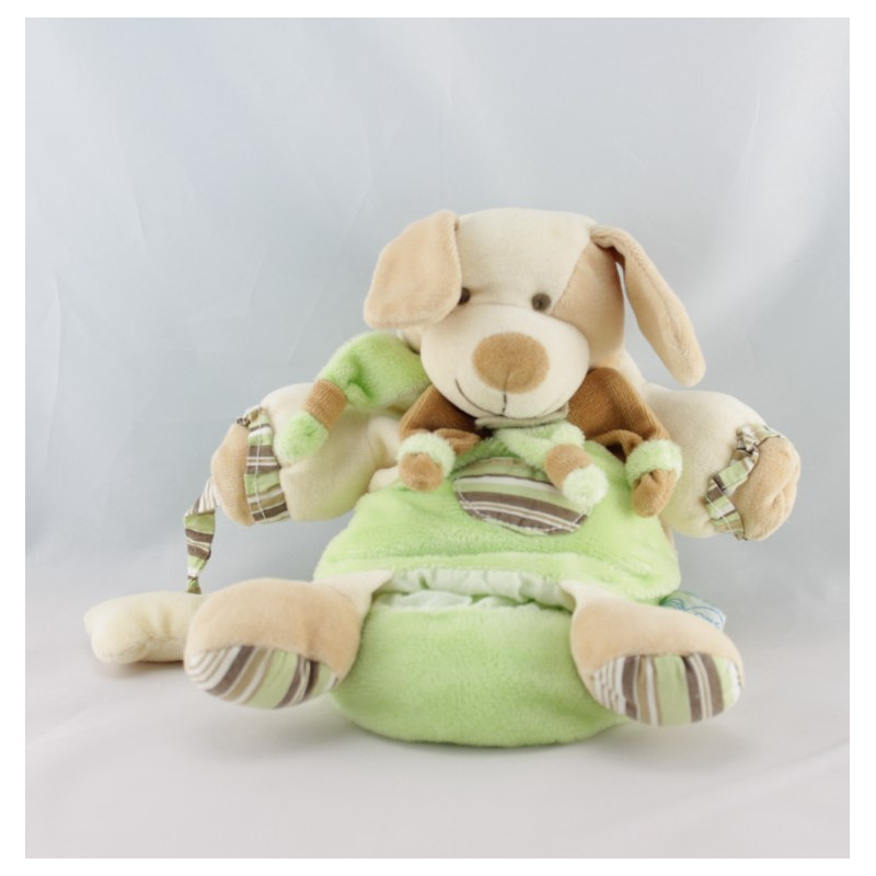 Doudou et compagnie marionnette chien vert copain os Z'amigolos