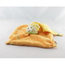 Doudou plat ours orange bonnet jaune BABY NAT