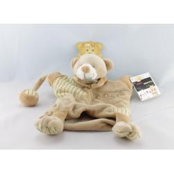 Doudou plat marionnette Mr ours beige marron BABY NAT