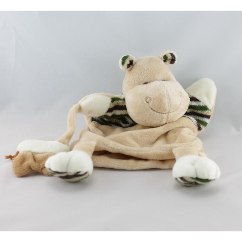 Doudou plat marionnette Mr Hippo beige vert papillon BABY NAT
