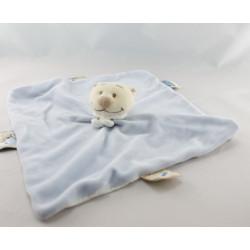 Doudou plat carré bleu ours NOUKIE'S