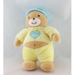 Doudou plat marionnette jaune ours coeur Takinou