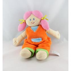 Doudou poupée fille salopette bleu rose nattes ANNA CLUB PLUSH