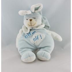 Doudou lapin blanc bleu NIF NIF EVEIL ET TENDRESSE