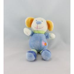 Doudou chien bleu coeur rose NICOTOY
