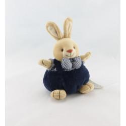 Doudou lapin boule hochet Vichy bleu Priscilla Larsen