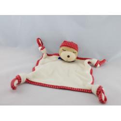 Doudou plat ours endormi bandanas rouge pois KALOO lot de 2